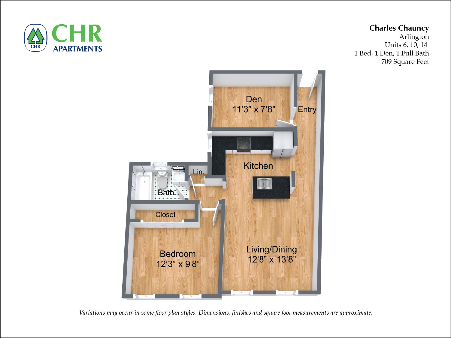 Click to view Charles Chauncy - 1 Bedroom (Newly Renovated) floor plan gallery