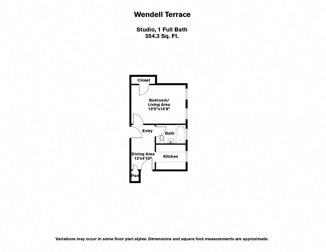 Click to view Wendell Terrace - Studio floor plan gallery
