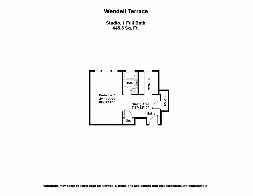 Floor plan Wendell Terrace - Studio image 2