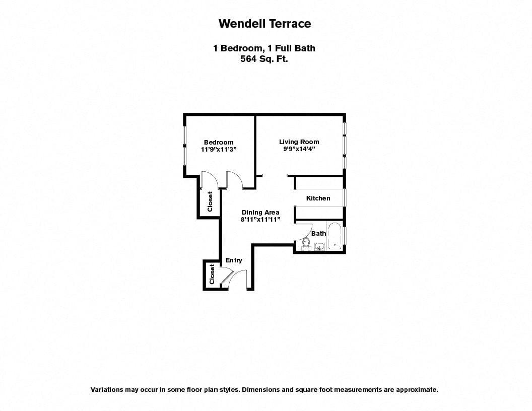 Click to view Wendell Terrace - 1 Bedroom floor plan gallery