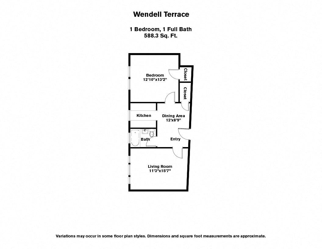 Floor plan Wendell Terrace - 1 Bedroom image 2