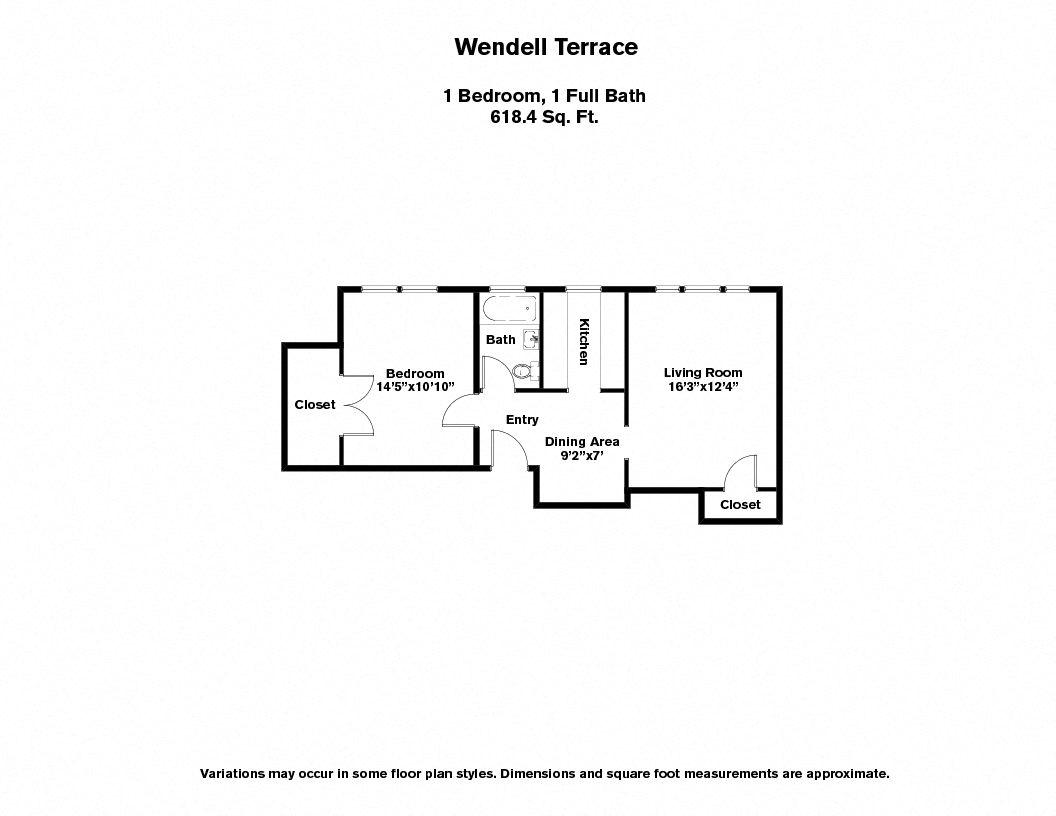 Floor plan Wendell Terrace - 1 Bedroom image 3