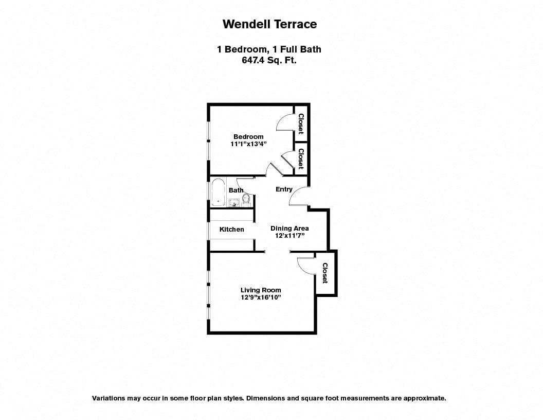 Floor plan Wendell Terrace - 1 Bedroom image 4