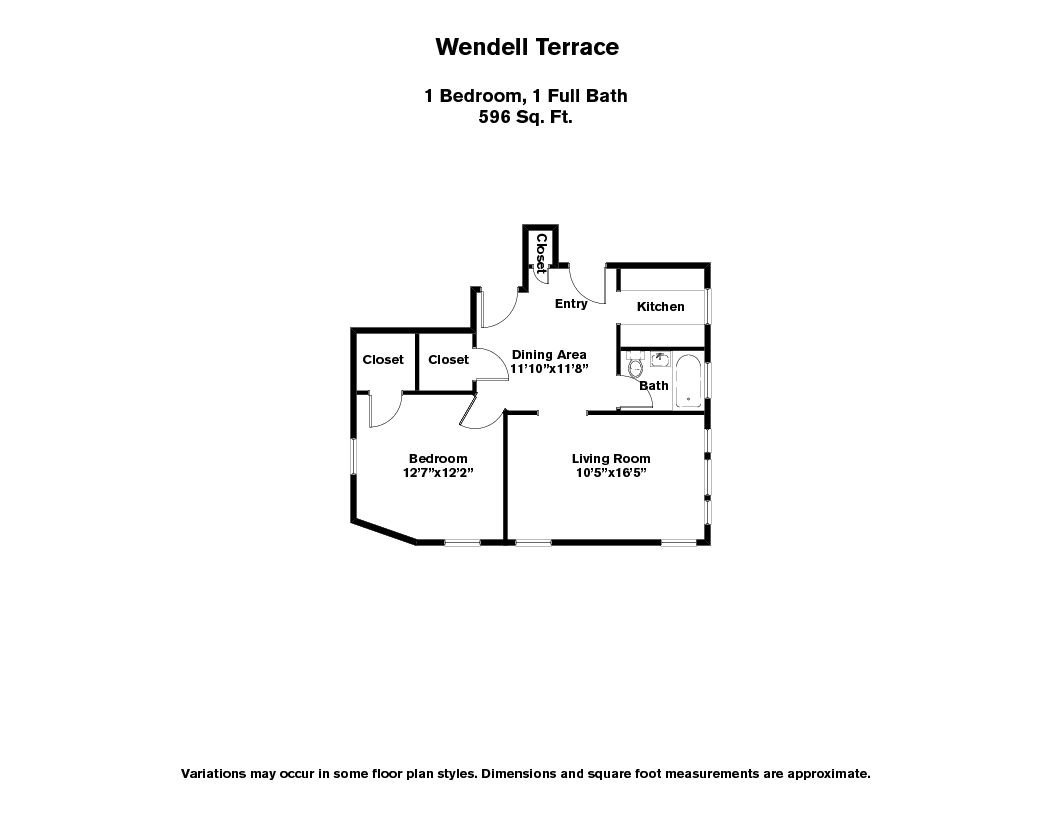 Floor plan Wendell Terrace - 1 Bedroom image 6