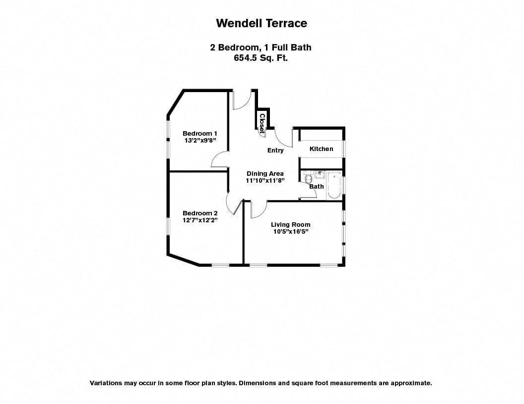 Click to view Wendell Terrace - 2 Bedroom floor plan gallery