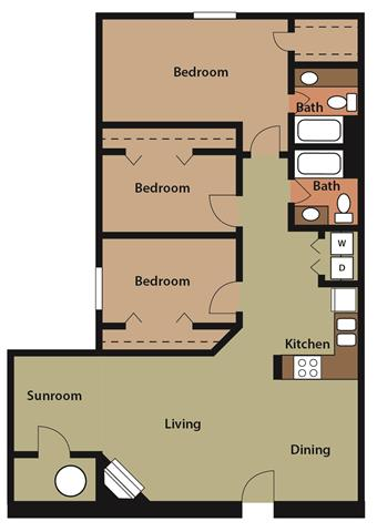 3 Bed 2 Bath w/ Sunroom