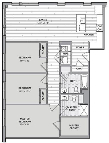 Floor plan for Unit S414
