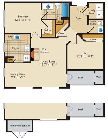 Md gaithersburg thecourtsofdevon p0326919 1bedroom1bathwden 2 floorplan