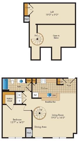 Md gaithersburg thecourtsofdevon p0326919 1bedroom1bathwloft 2 floorplan