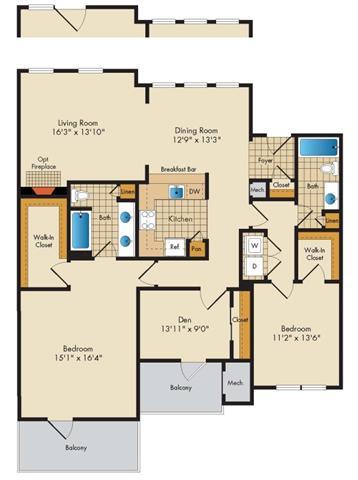Md gaithersburg thecourtsofdevon p0326919 2bedroom2bathwden 2 floorplan