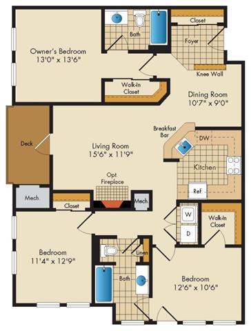 Md gaithersburg thecourtsofdevon p0326919 3bedroom2bath 2 floorplan