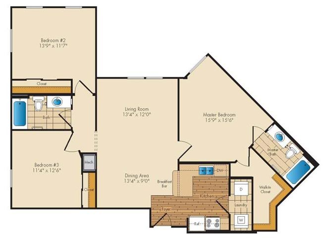 Md landover jerichoresidences p0326923 3bed2bath 2 floorplan