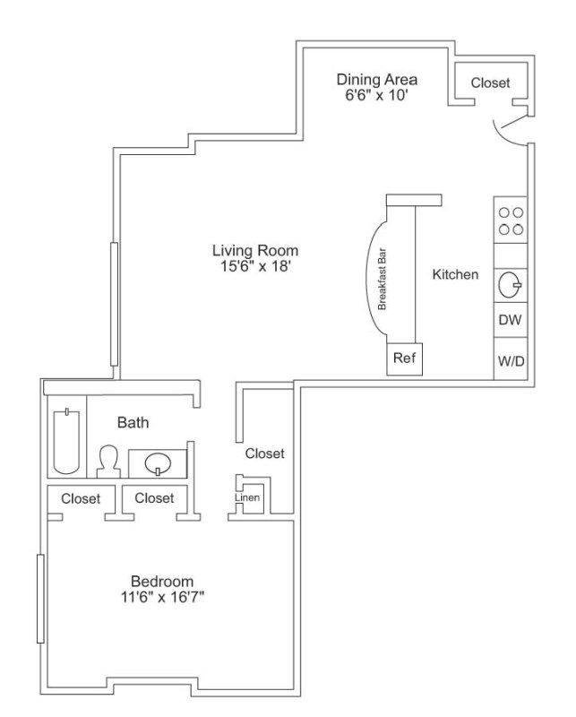 1 Bed/1 Bath - 911 sf