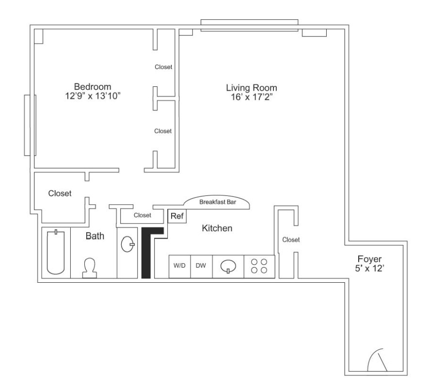 1 Bed/1 Bath - 844 sf