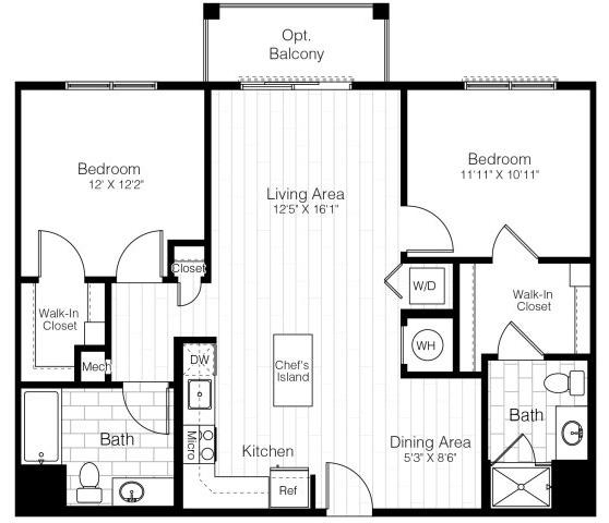 B1twobed1066sf 2 floorplan