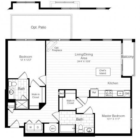 B2twobed1220sf 2 floorplan