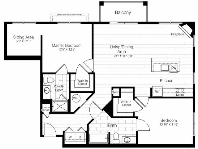 B8twobed1299sf 2 floorplan