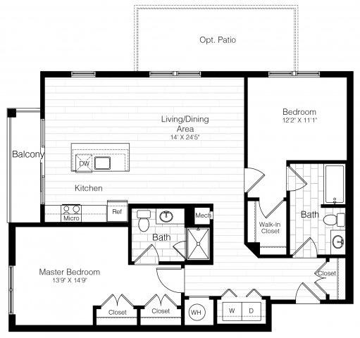 B9twobed1207sf 2 floorplan
