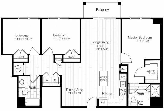 C2threebedroom1342sf 2 floorplan