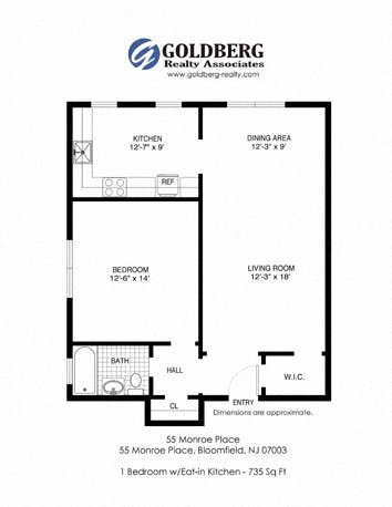 floor plans for 55 monroe place apartments located in