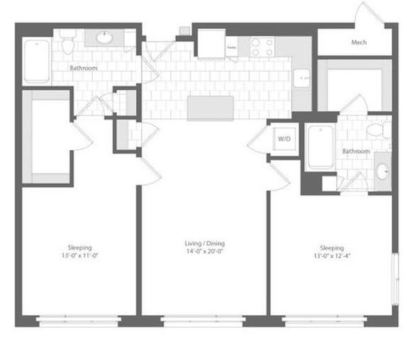 Md baltimore unionwharf p0233501 leebow 2bed 1147sf 2 floorplan