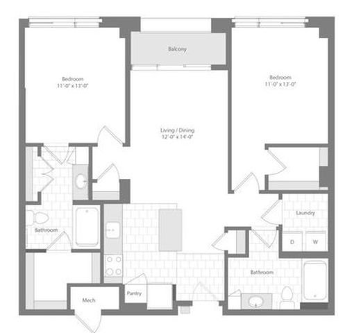 Md baltimore unionwharf p0233501 mainsail 2bed 1097sf 2 floorplan