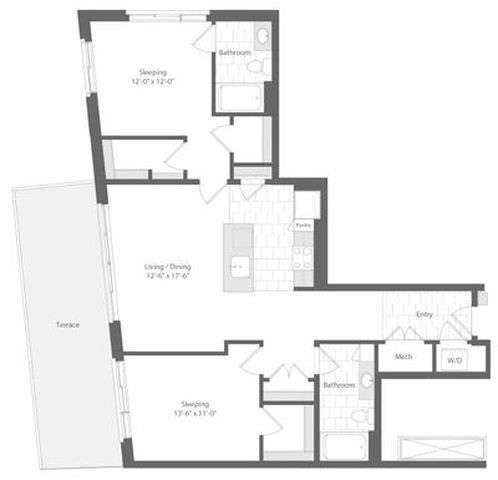 Md baltimore unionwharf p0233501 midship 2bed 1149sf 2 floorplan