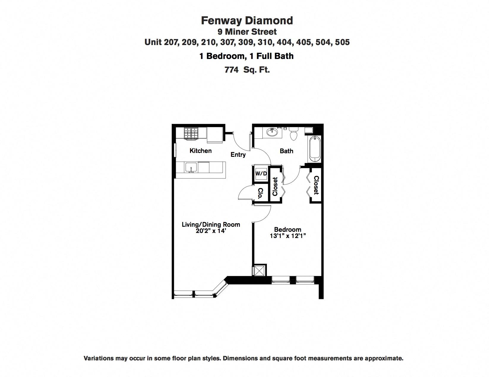 Floor plan 1 Bedroom with Open Floorplan image 2