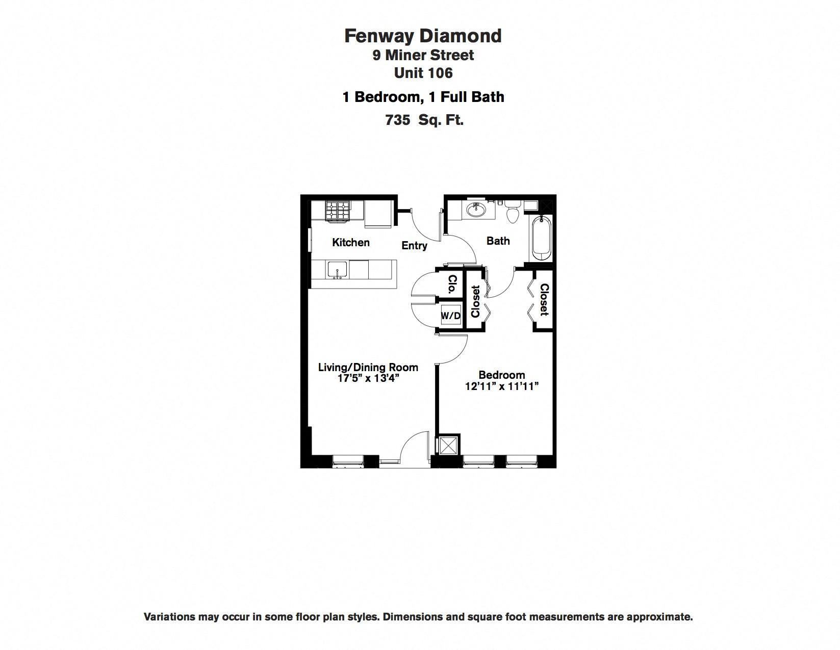 Floor plan 1 Bedroom with Open Floorplan image 6