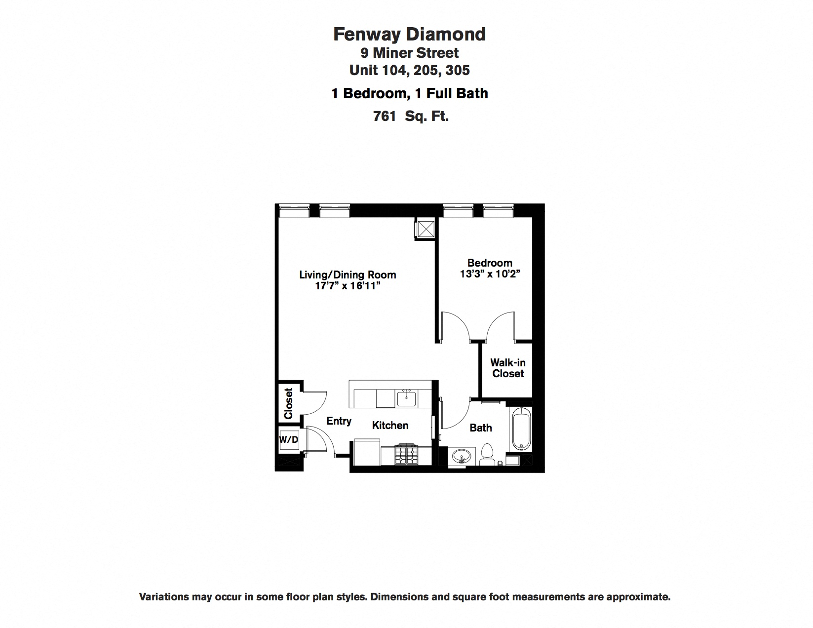 Click to view Floor plan 1 BR w/ Walk-in Closet image 2