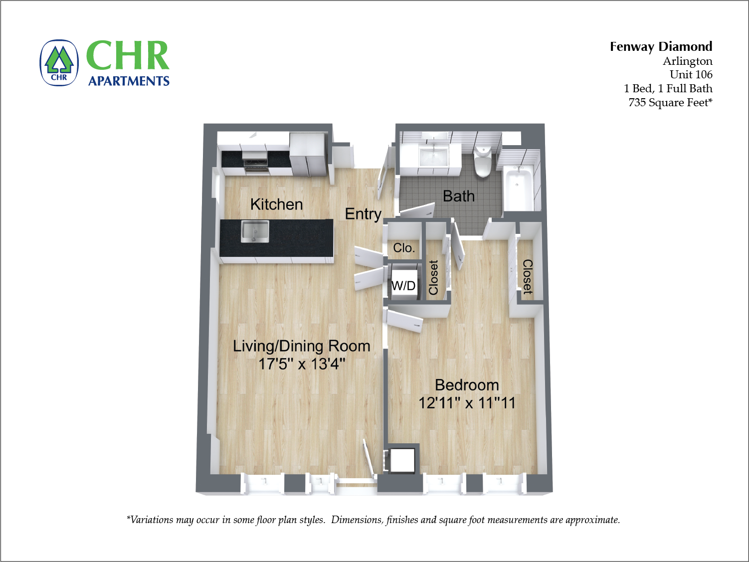 Floor plan 1 Bedroom with Open Floorplan image 5