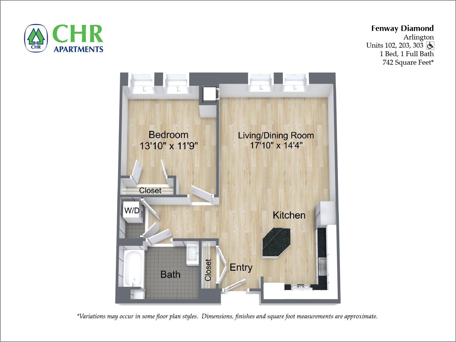 Floor plan 1 Bedroom with Open Floorplan image 7