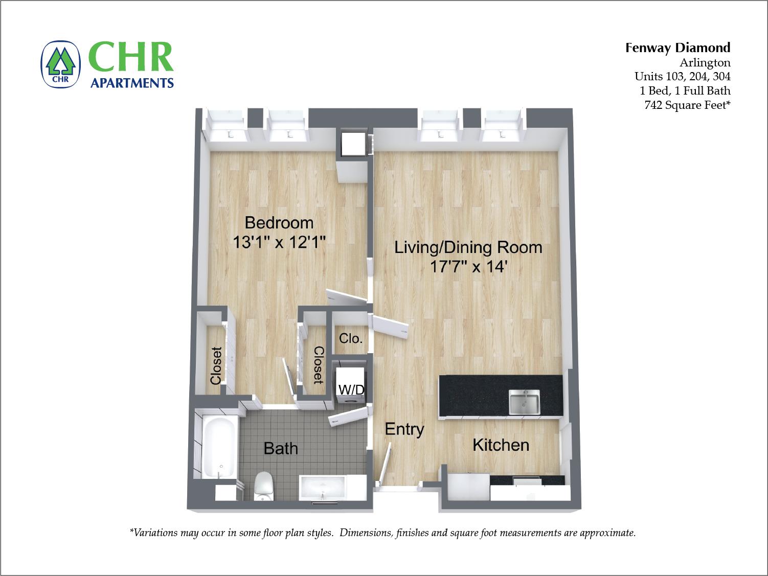 Floor plan 1 Bedroom with Open Floorplan image 3