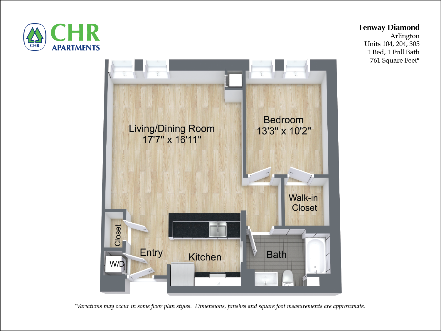 Click to view 1 BR w/ Walk-in Closet floor plan gallery