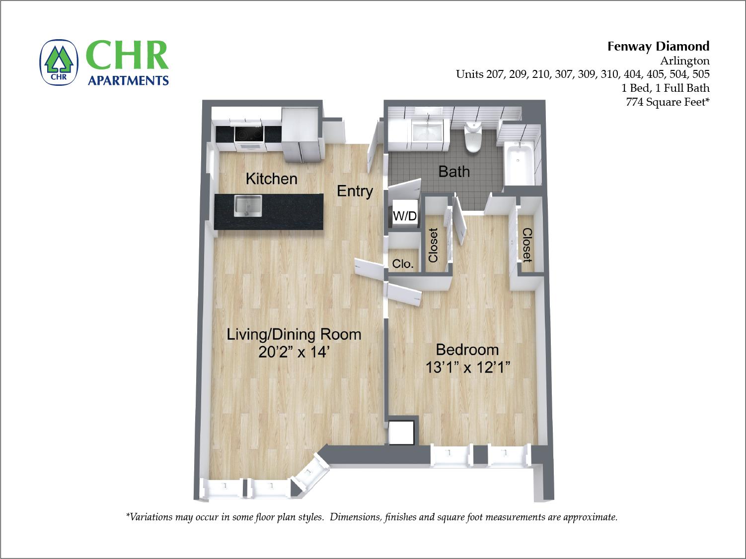 Click to view 1 Bedroom with Open Floorplan floor plan gallery