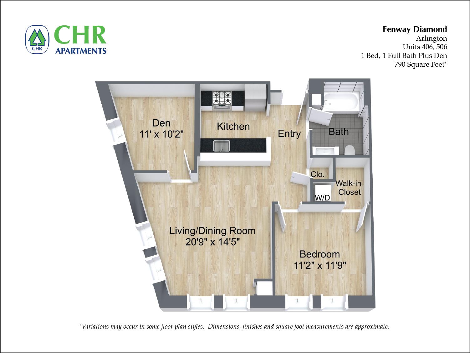 Click to view 2 Bedroom with Open Floorplan floor plan gallery