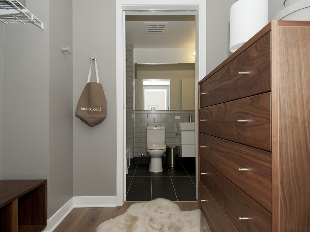 Spacious walk-in closets