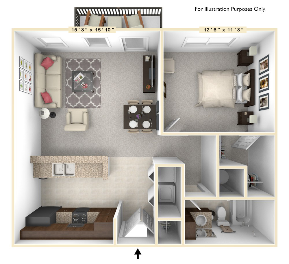 The Allegiance - 1 BR 1 BA floor plan, top view