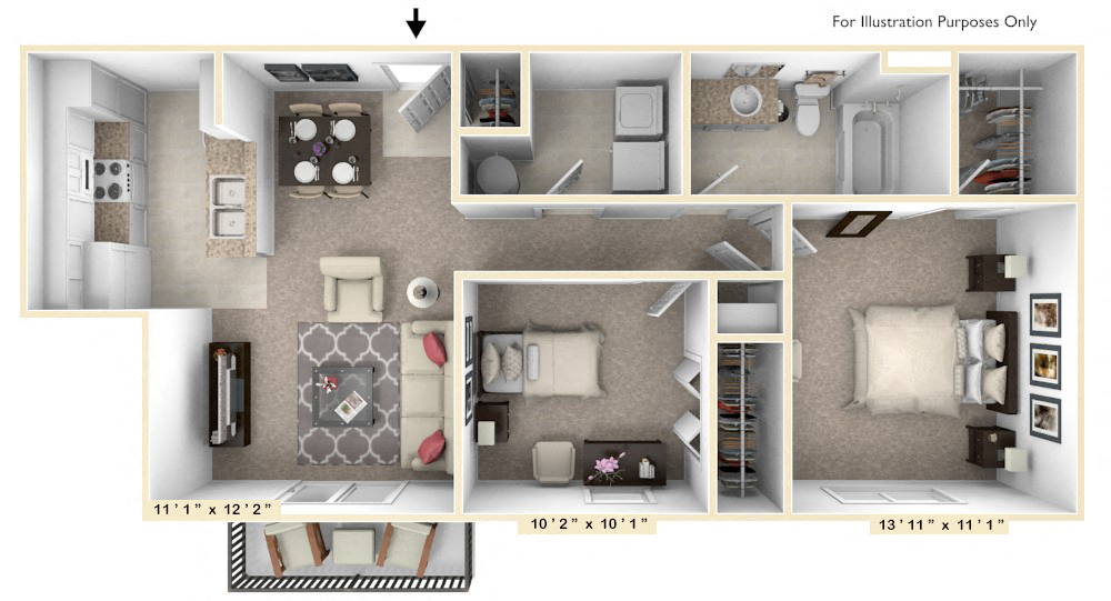 The Ambassador - 2 BR 1 BA floor plan, top view