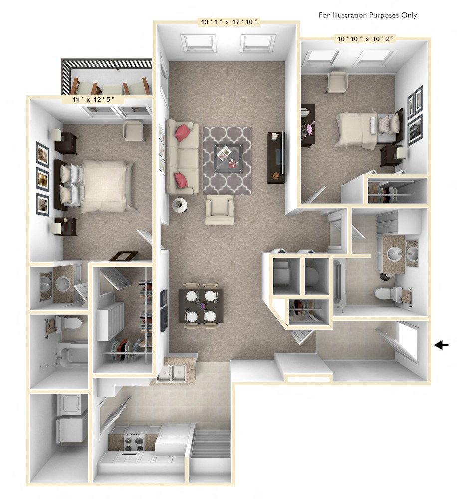 The Capital - 2 BR 2 BA floor plan, top view