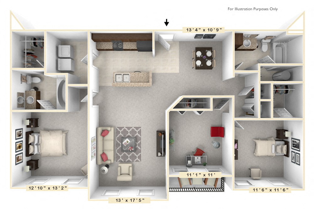The Commander - 3 BR 2 BA floor plan, top view