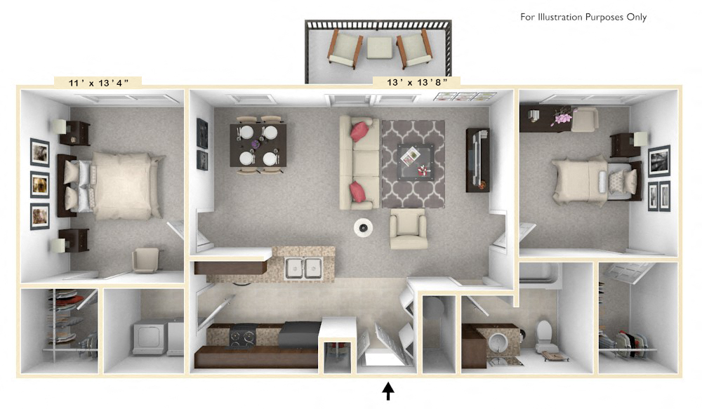 The Congressional - 2 BR 1 BA floor plan, top view