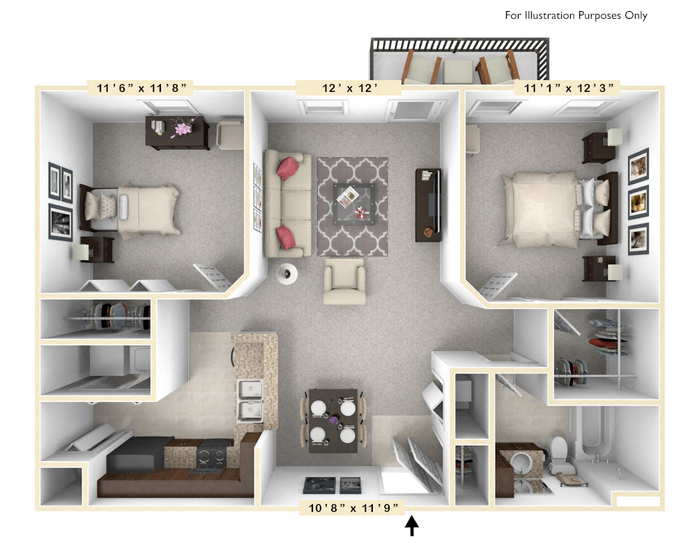 The Constitution - 2 BR 1 BA floor plan, top view
