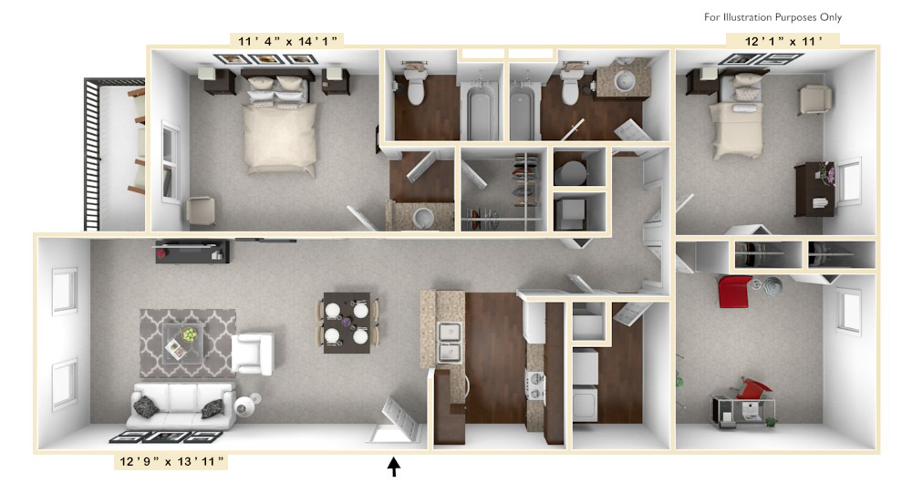 The Declaration - 3 BR 2 BA floor plan, top view