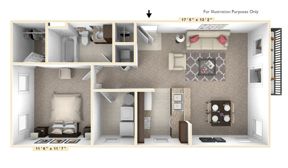 The Diplomat - 1 BR 1 BA floor plan, top view