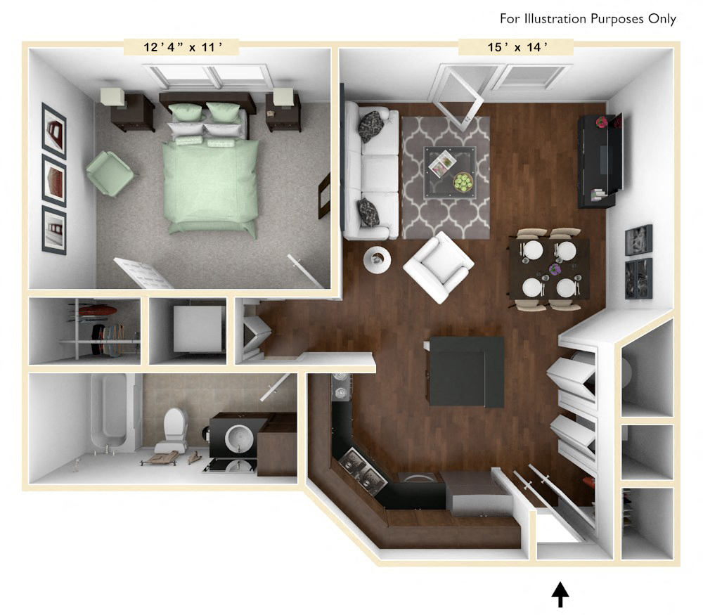 The Executive - 1 BR 1 BA floor plan, top view