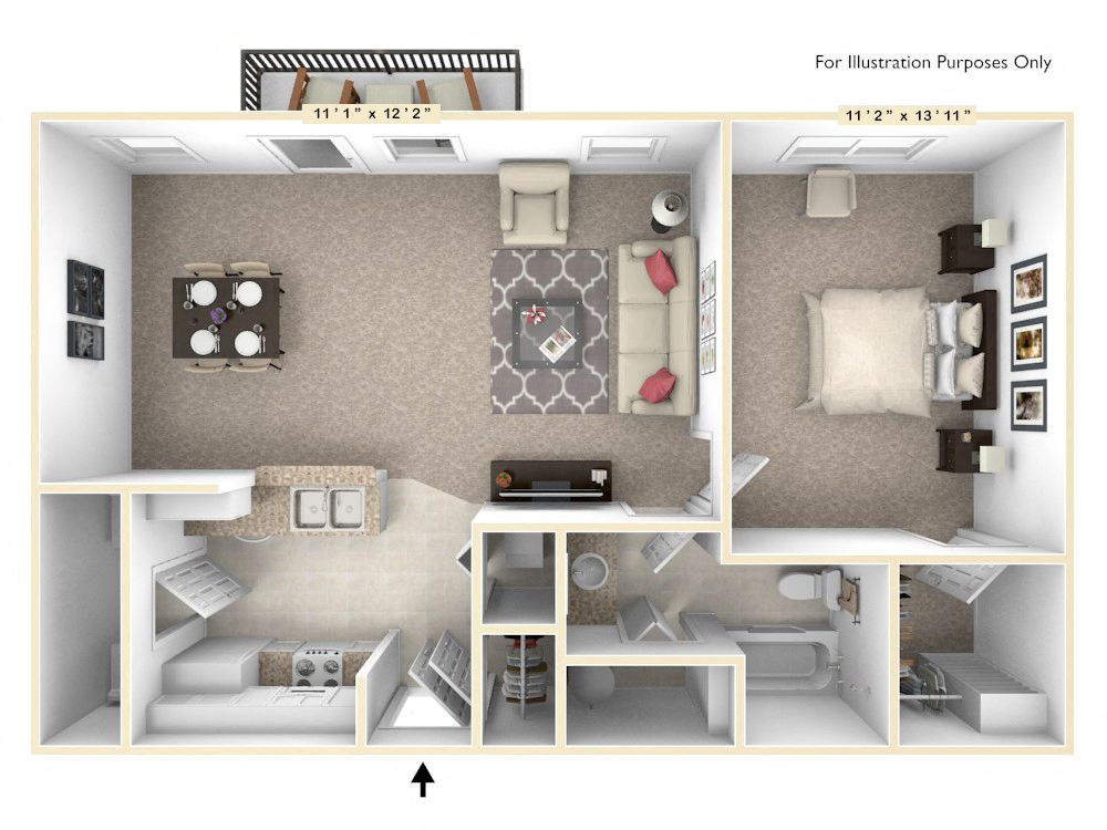 The Independence - 1 BR 1 BA floor plan, top view