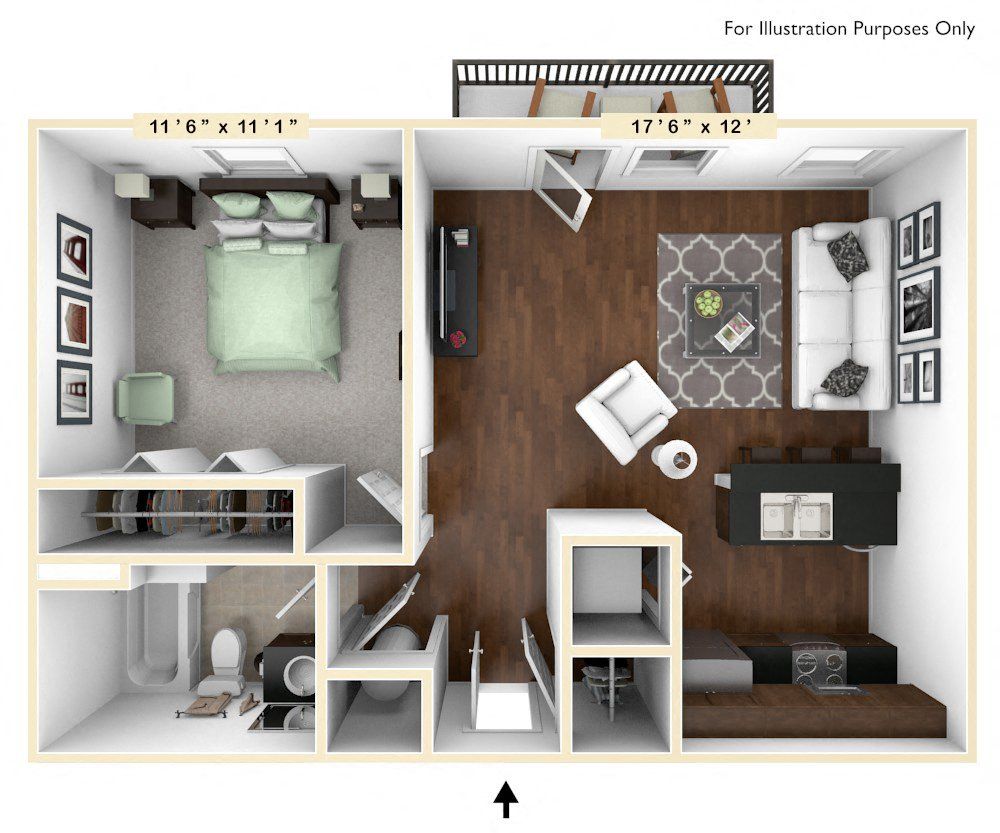 The Justice - 1 BR 1 BA floor plan, top view