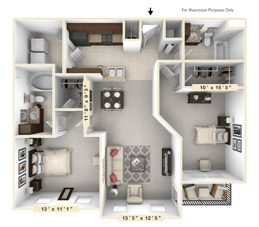 The Liberty - 2 BR 2 BA floor plan, top view