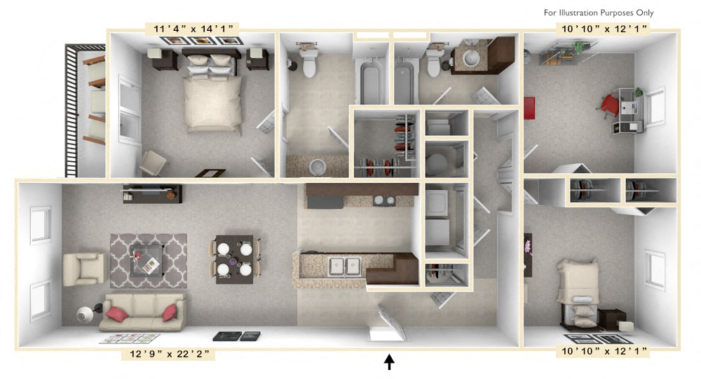 The Presidential - 3 BR 2 BA floor plan, top view